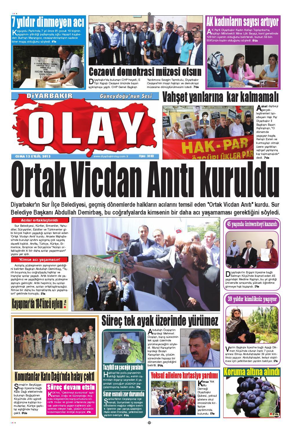 13 09 2013 Gazete Sayfalari By Diyarbakir Olaygazetesi Issuu