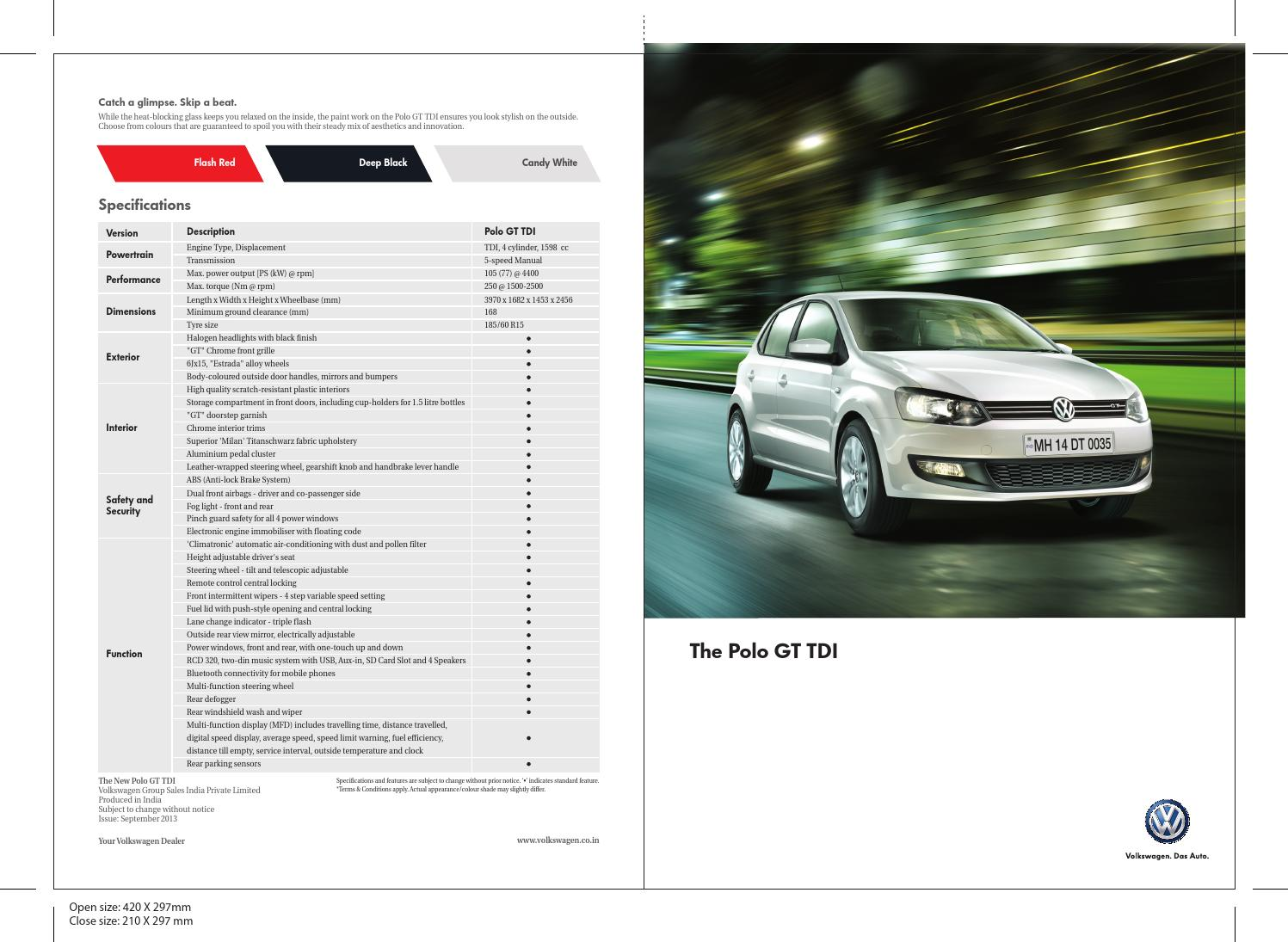 Volkswagen Polo Gt Tdi Brochure By Rushlane Issuu