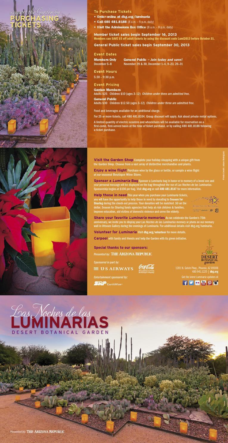 Las Noches De Las Luminarias 2013 Invitation By Desert Botanical Garden Issuu