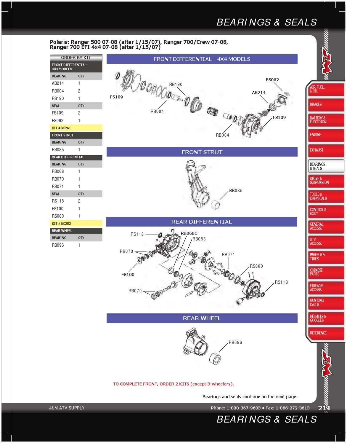 Polaris Ranger 700 4x4 ATV Rear Wheel Bearings 07-08