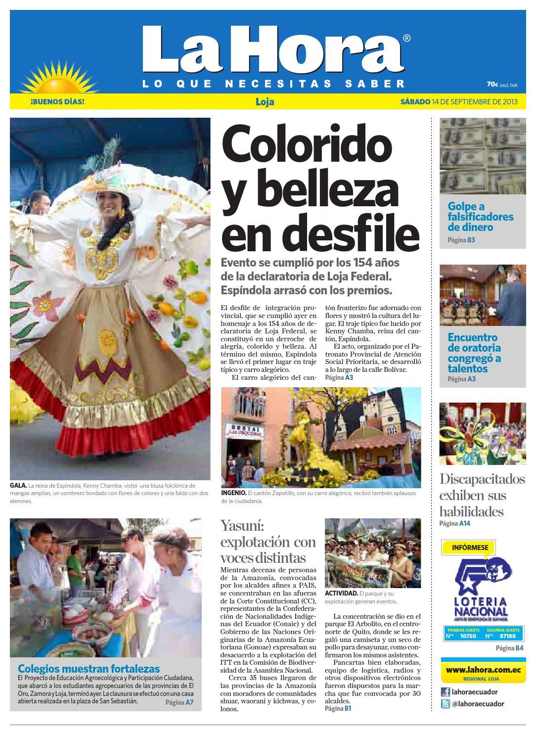 Diario La Hora Loja 14 De Septiembre 2013 By Diario La Hora  # Muebles Nilda House Quito