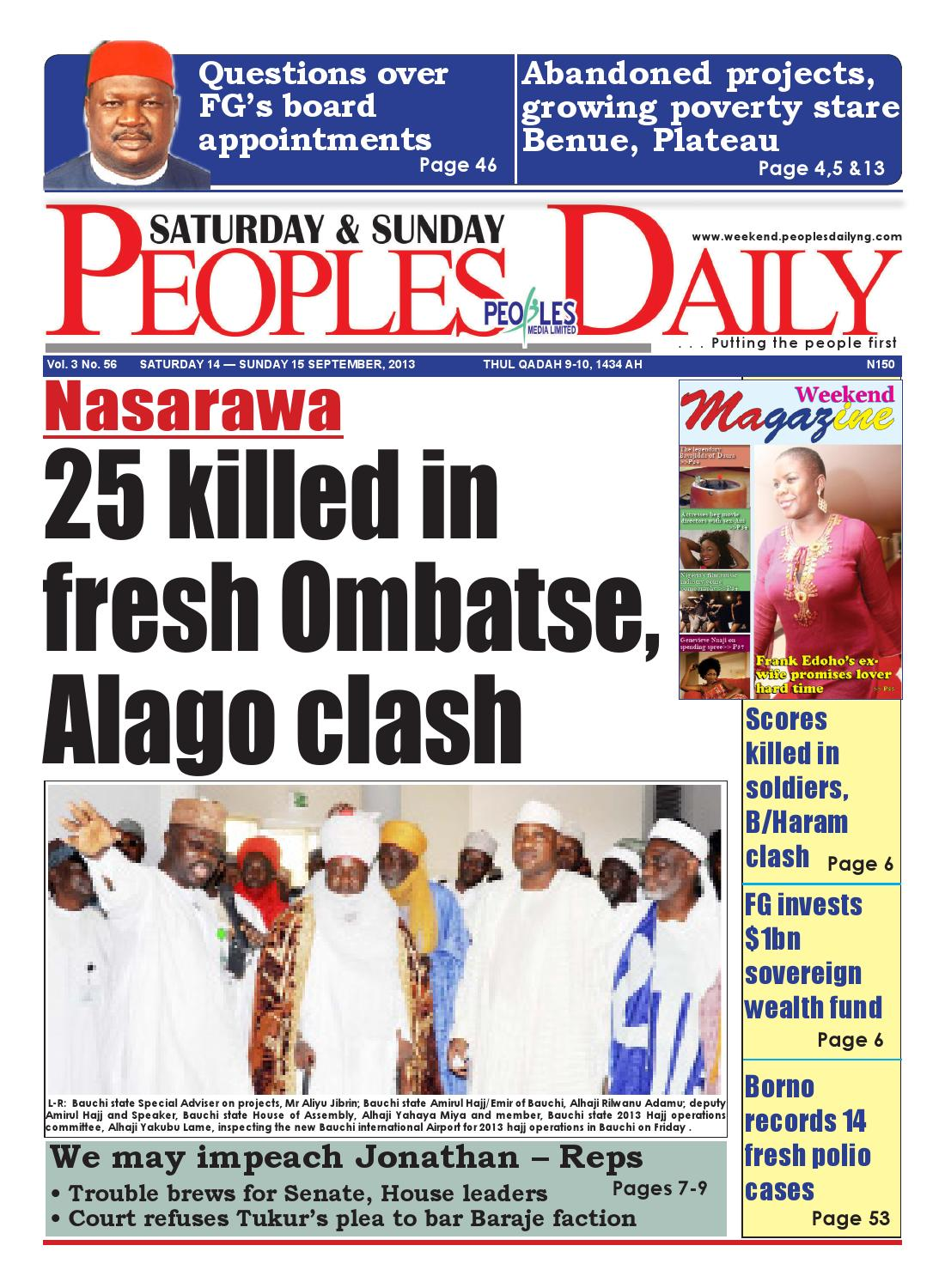 Peoples Daily Newspaper, Saturday 14, September, 2013 by