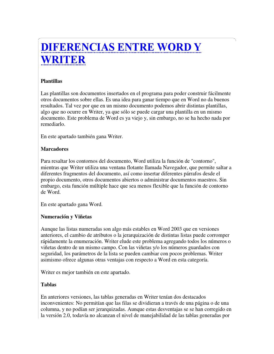 Diferencias entre word y writer by Angel Xavier Pillajo Landa - issuu