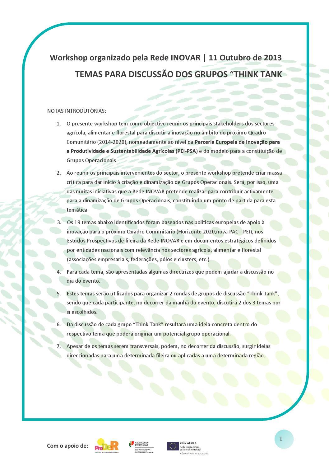 Temas Discussão Grupos Think Tank By Inovisa Issuu