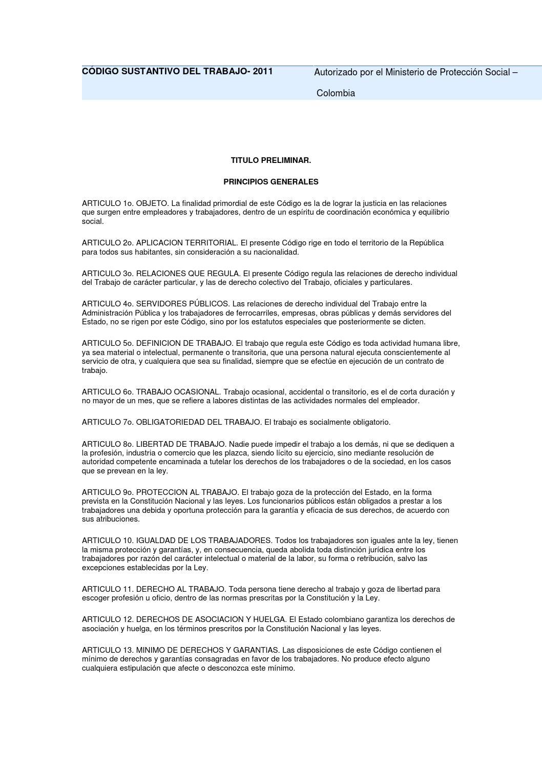 Decreto 2663 de 1950 codigo sustantivo del trabajo colombia by ESE ...