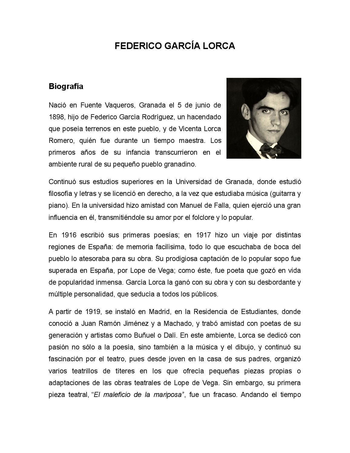 Federico García Lorca By Carmen Hernandez Issuu