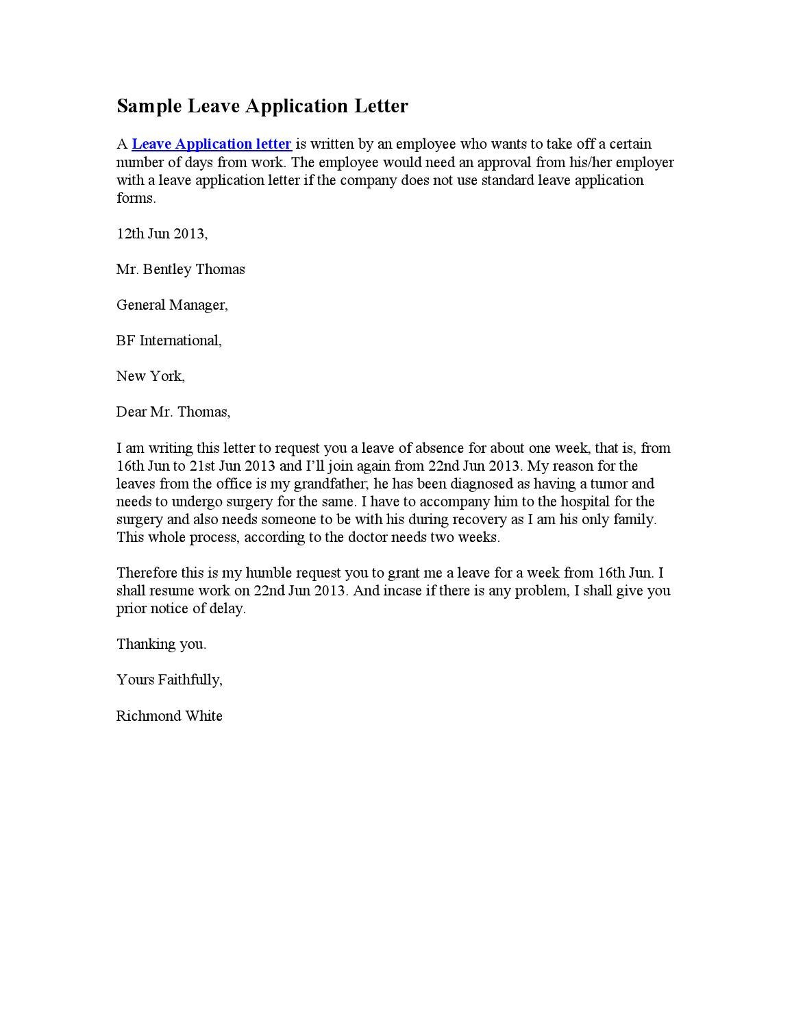 leave of absence letter sample leave application letter by stephen wash issuu 1355