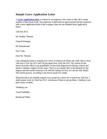 Sample Leave Application Letter By Stephen Wash  Issuu