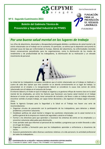 Boletn Del Gabinete Tcnico De Prevencin Cepyme Aragn N 5 By
