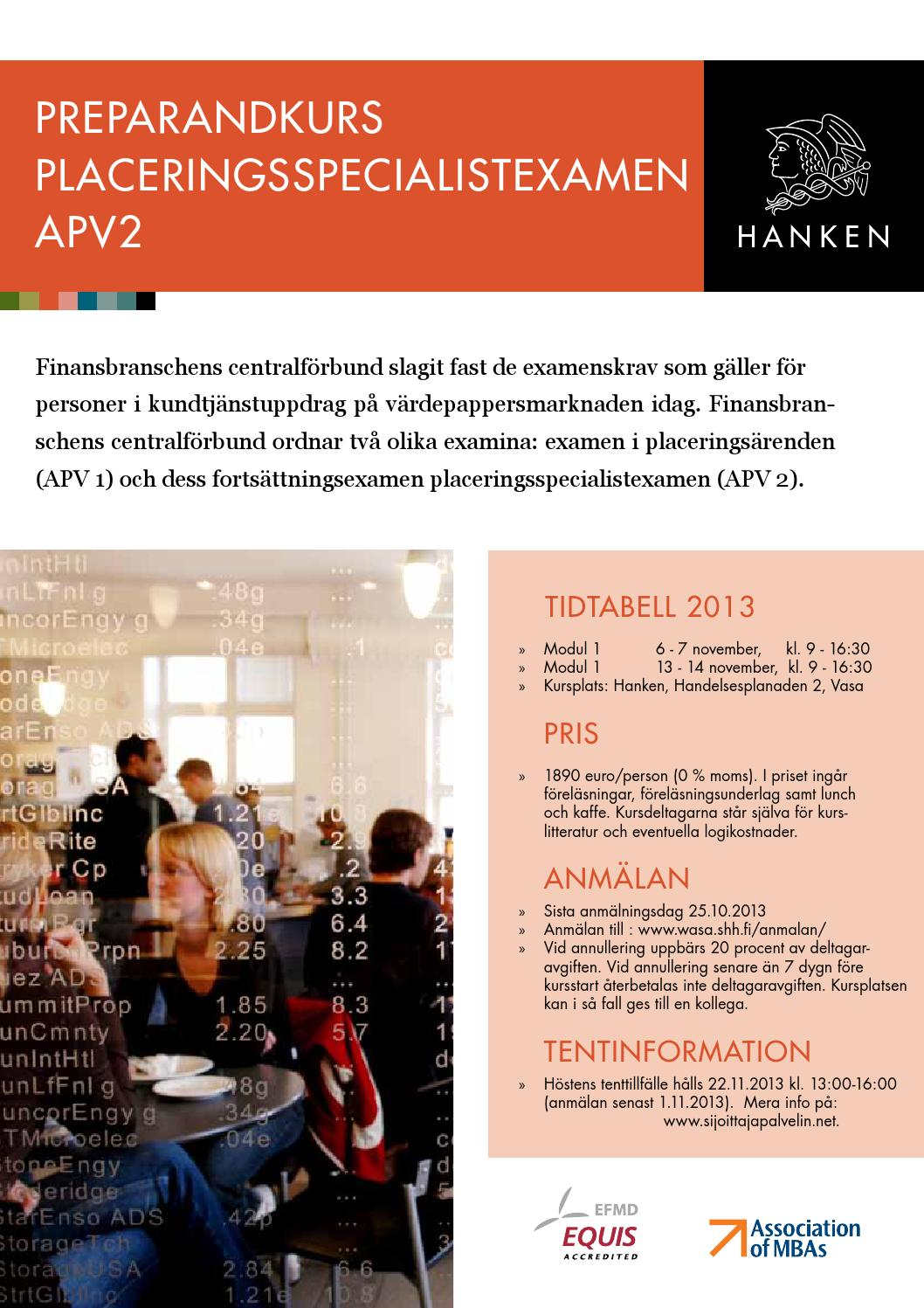 Hanken Fortbildning Vasa - APV2 2013 by Hanken School of Economics - Issuu