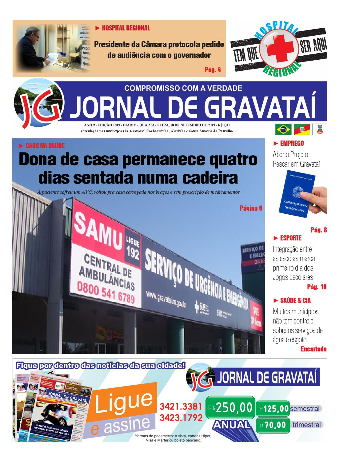 ANO 9 - EDIÇÃO 1813 - DIÁRIO - QUARTA - FEIRA, 18 DE SETEMBRO DE 2013 - R   1,00 by Jornal de Gravataí - issuu 64d4d5cdbd