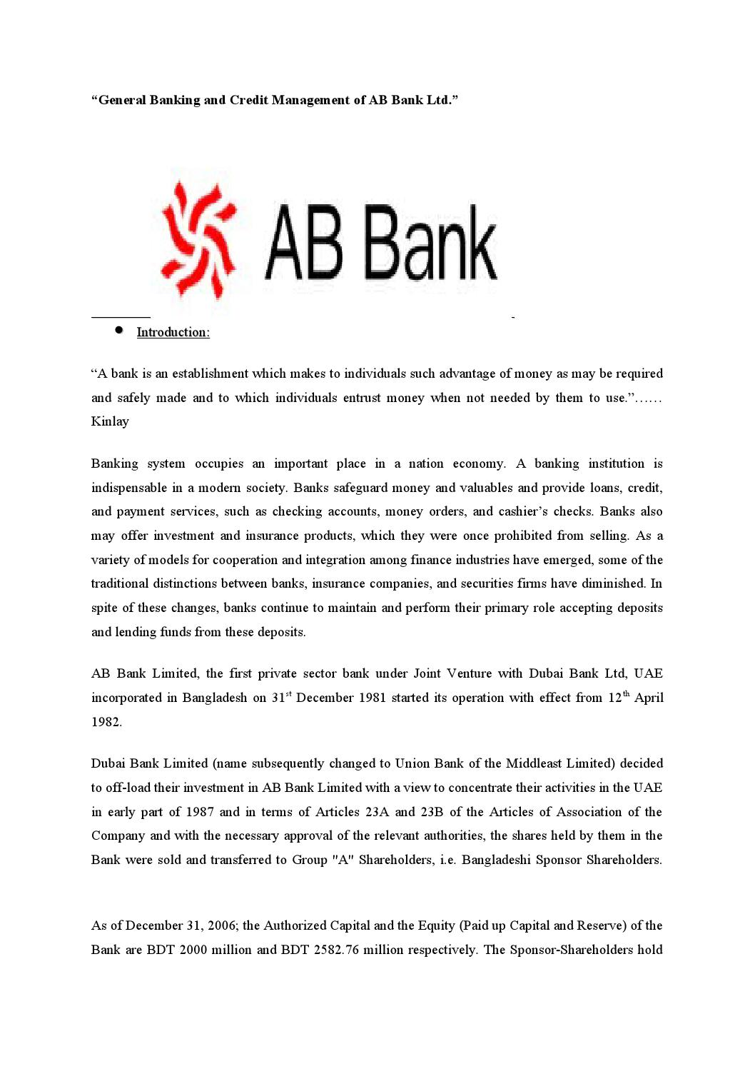 General banking and credit management of ab bank ltd by md papon general banking and credit management of ab bank ltd by md papon issuu altavistaventures Images