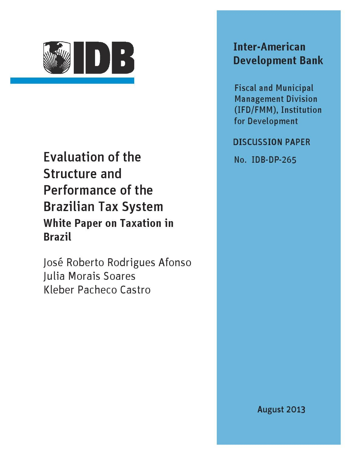 evaluation of the structure and performance of the brazilian tax ...