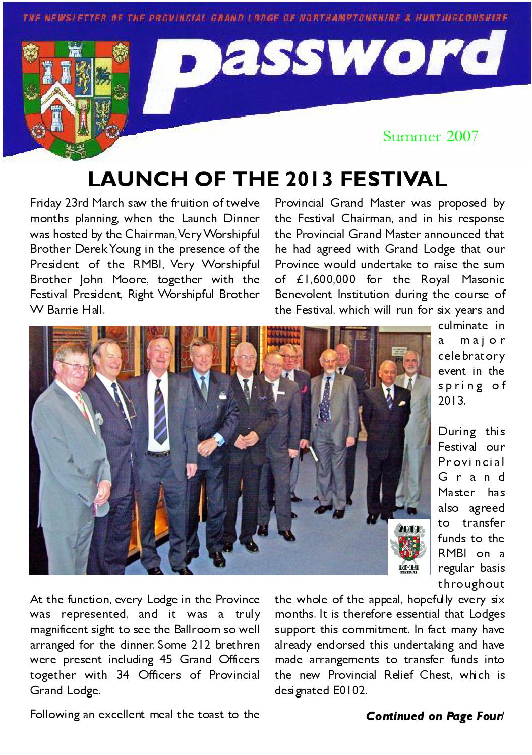 07 Password Summer 2007 by Northants and Hunts Masons - issuu