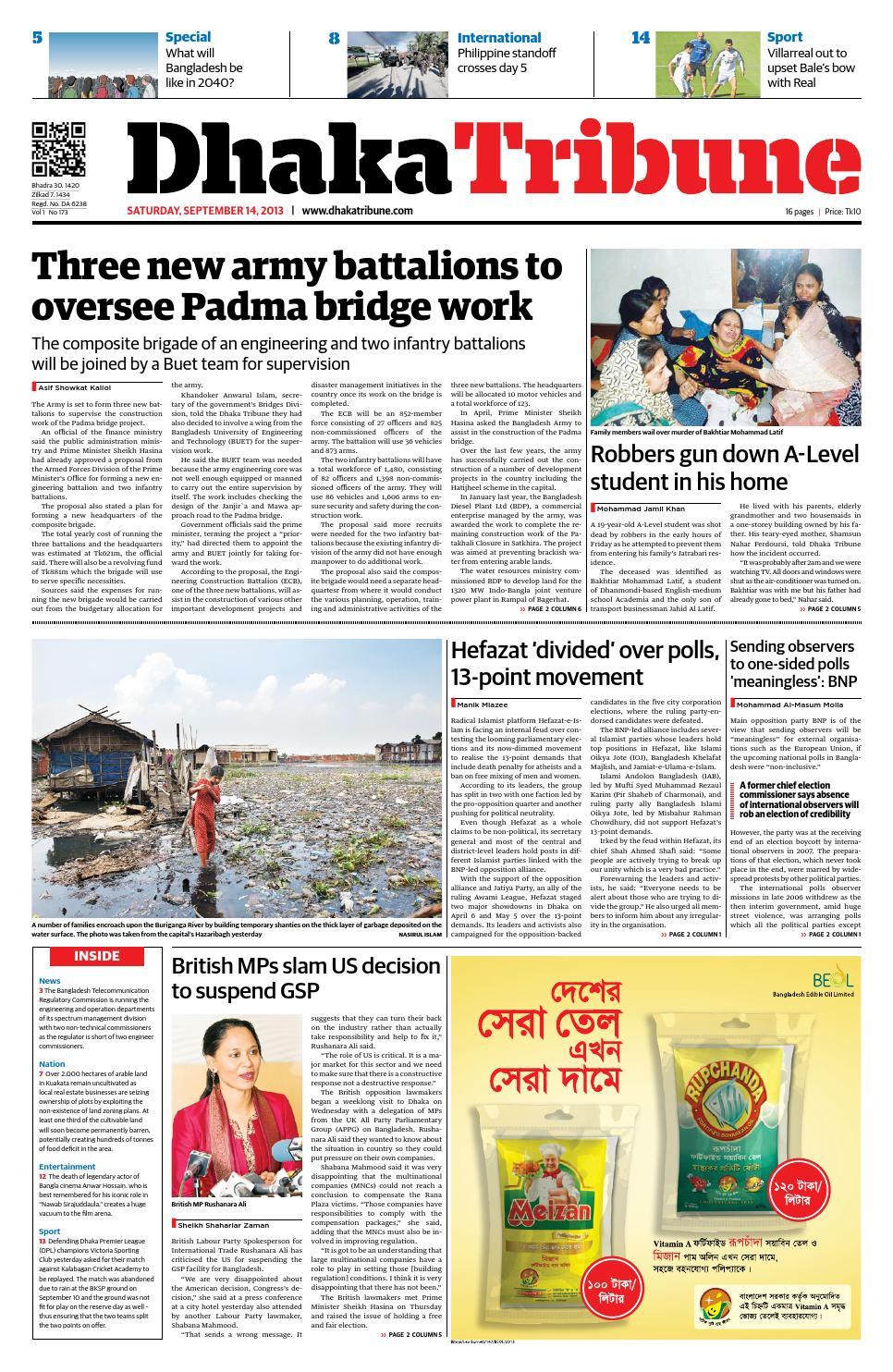 September 14, 2013 by DhakaTribune - issuu