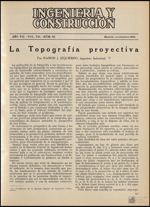 Revista Ingeniería y Construcción (Noviembre,1929) by FUNDACIÓN ...