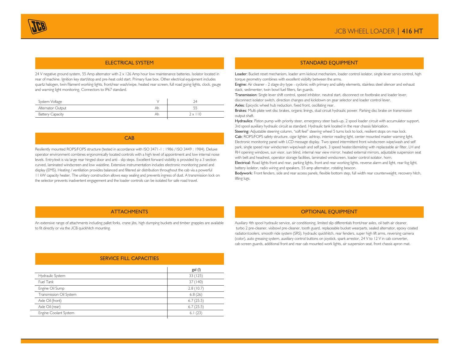 JCB 416 HT Spec Sheet US Mar 2013 by JCB North America issuu – Jcb Fuse Box Location