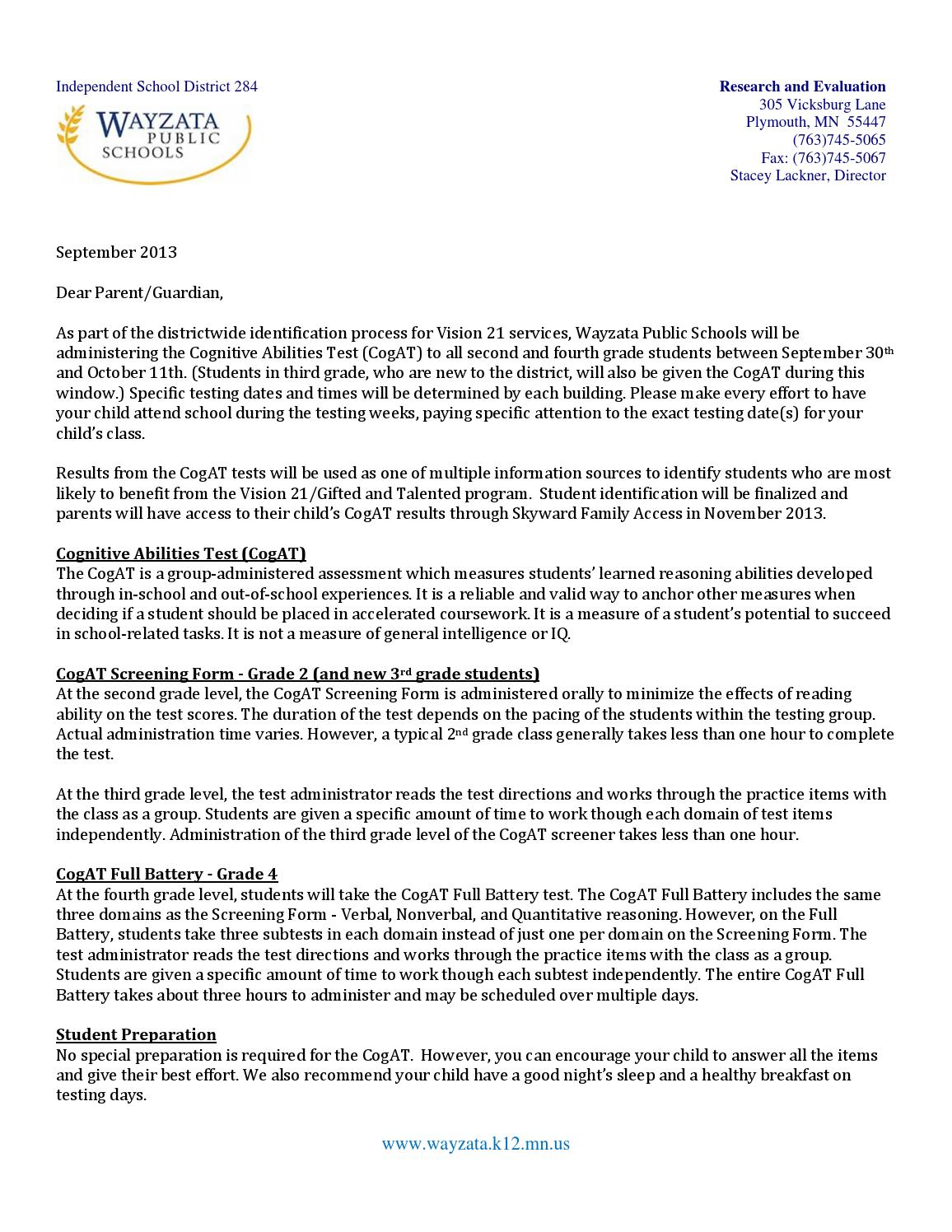 Cogat Parent Letter September 2013 By Wayzata Public Schools Issuu