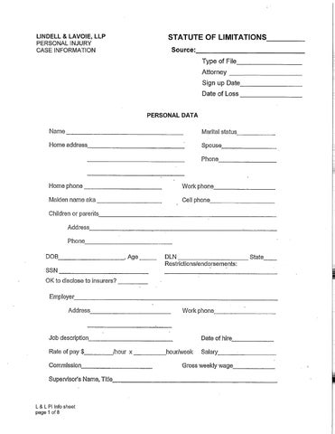 Minnesota Personal Injury Intake Form by Mary Bock - issuu