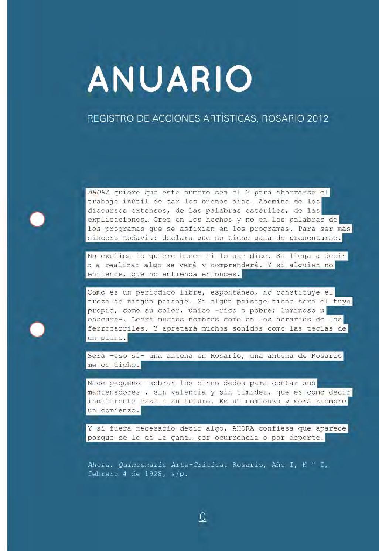 Anuario. Registro de acciones artísticas. Rosario, 2012 by Éditions ...