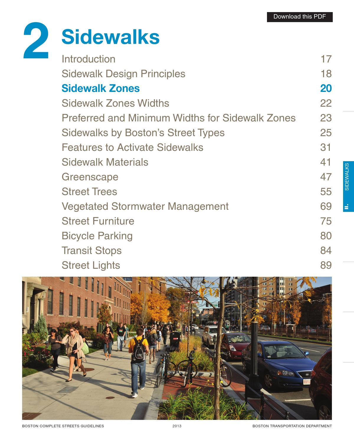 2 3 sidewalk zones by boston transportation department for Furniture zone sidewalk