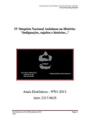 408ffb491 Anais eletrônicos - IV Simpósio Nacional Anônimos na História by ...