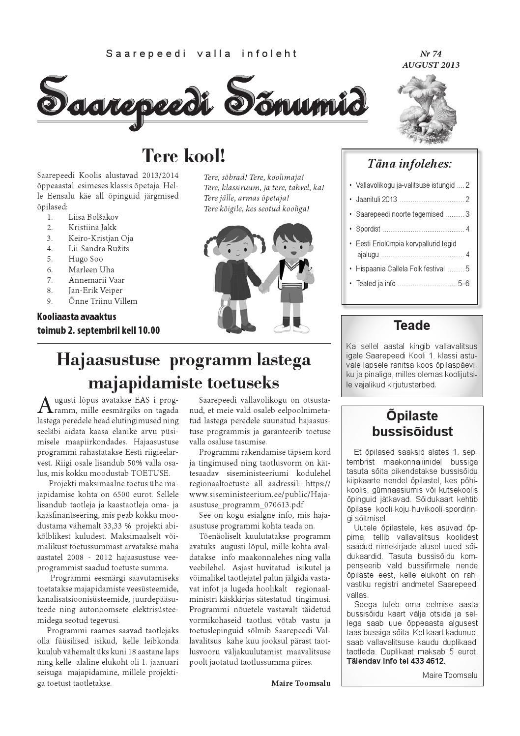 98328fc2960 Saarepeedi Sõnumid august 2013 by Saarepeedi vald - issuu