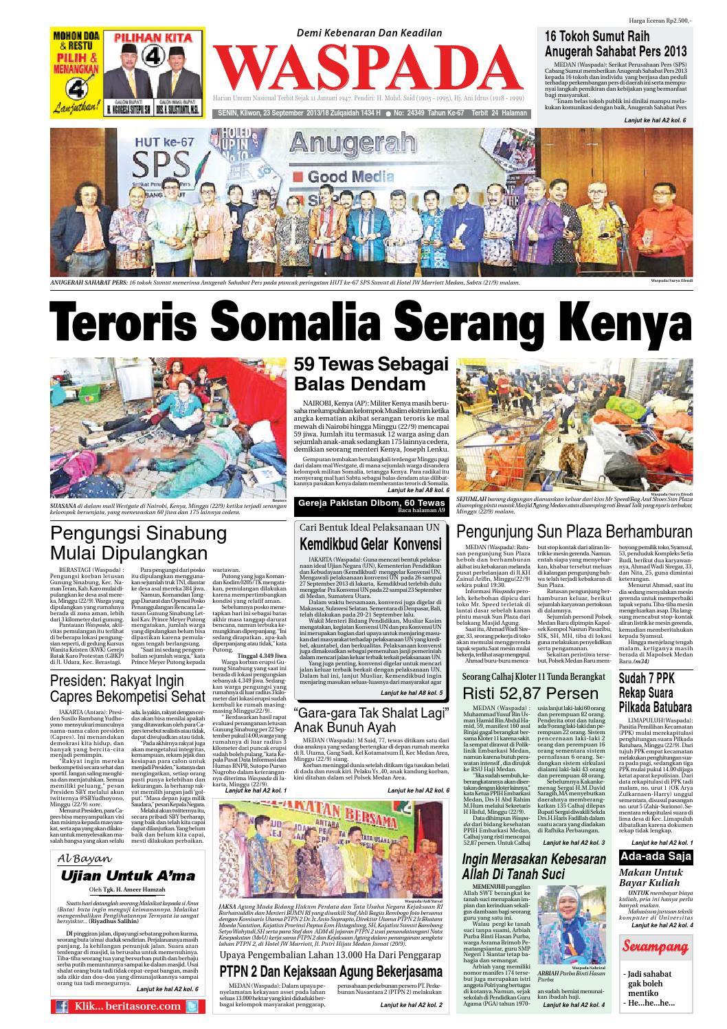 Waspada Senin 23 September 2013 By Harian Waspada Issuu