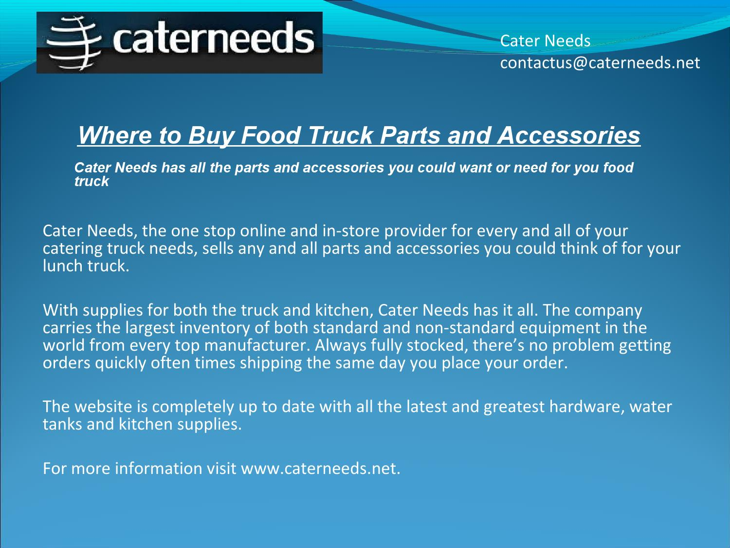 Where to Buy Food Truck Parts and Accessories by Cater needs - issuu