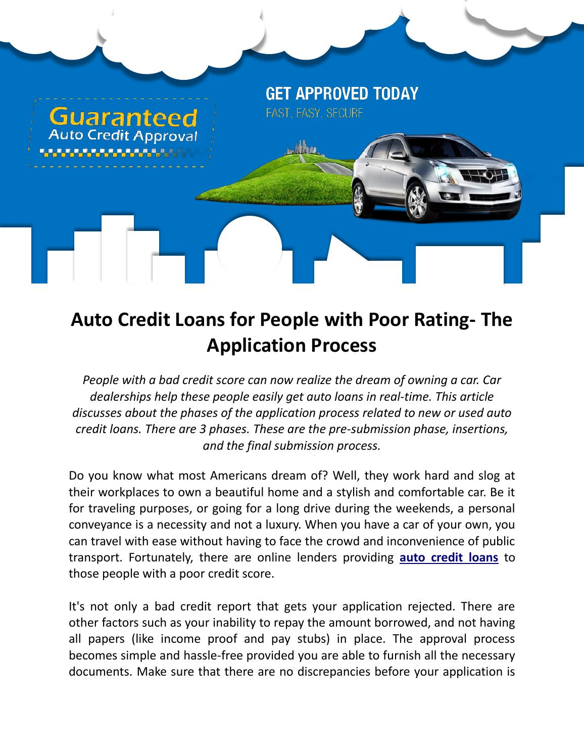 No Credit No Cosigner Car Dealerships >> Auto Credit Loans For People With Poor Rating The