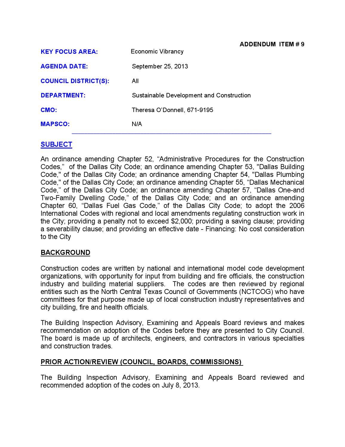 Medical abbreviation for addendum - Dallas City Council Agenda September 25 2013 Addendum Part Ii By Buildingcommunityworkshop Issuu