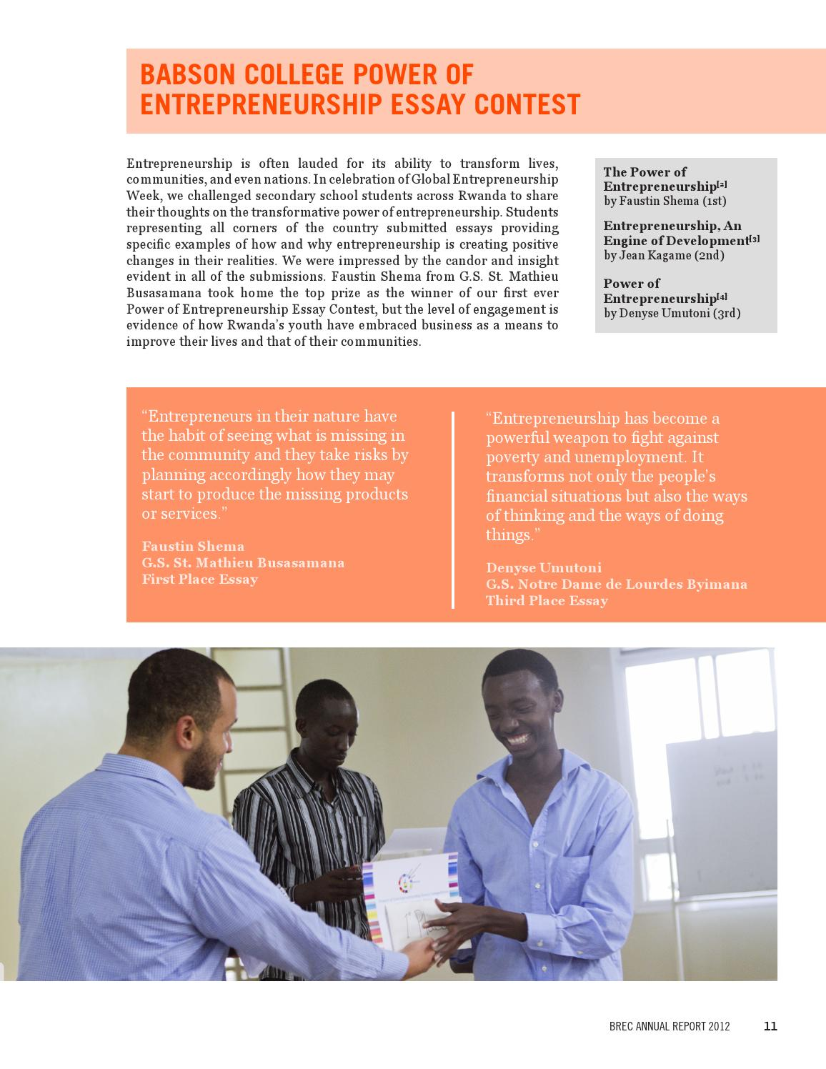 Brec  Annual Report By Babson Rwanda Entrepreneurship Center  Issuu  Ghostwriting Services Australia also Buy Assignments Online Uk  High School Admission Essay Samples