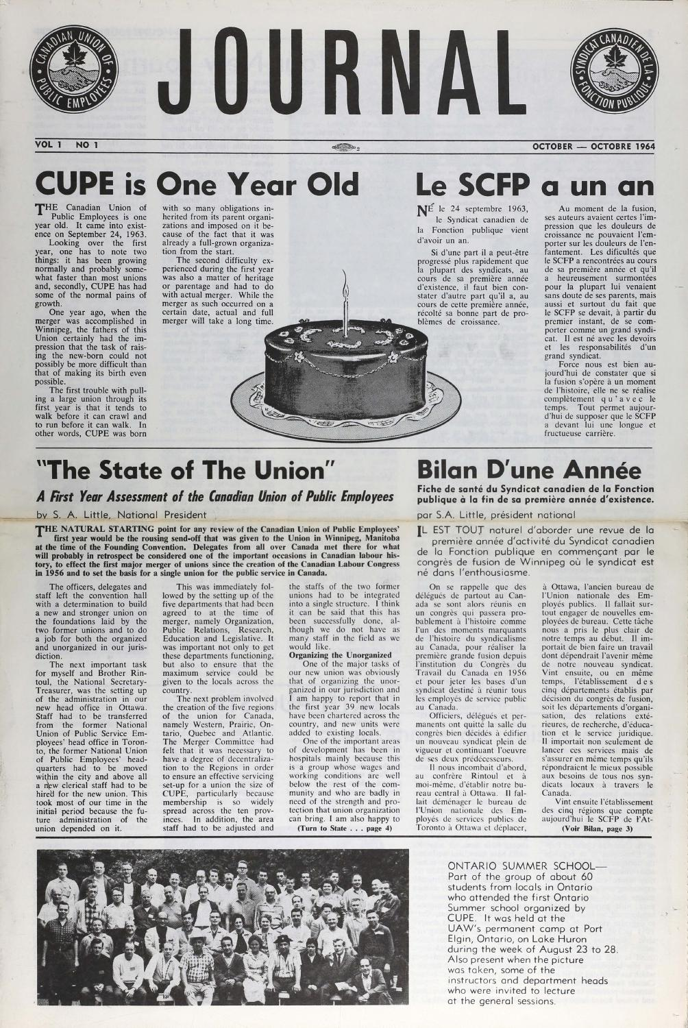 journal 1964 by canadian union of public employees issuu. Black Bedroom Furniture Sets. Home Design Ideas