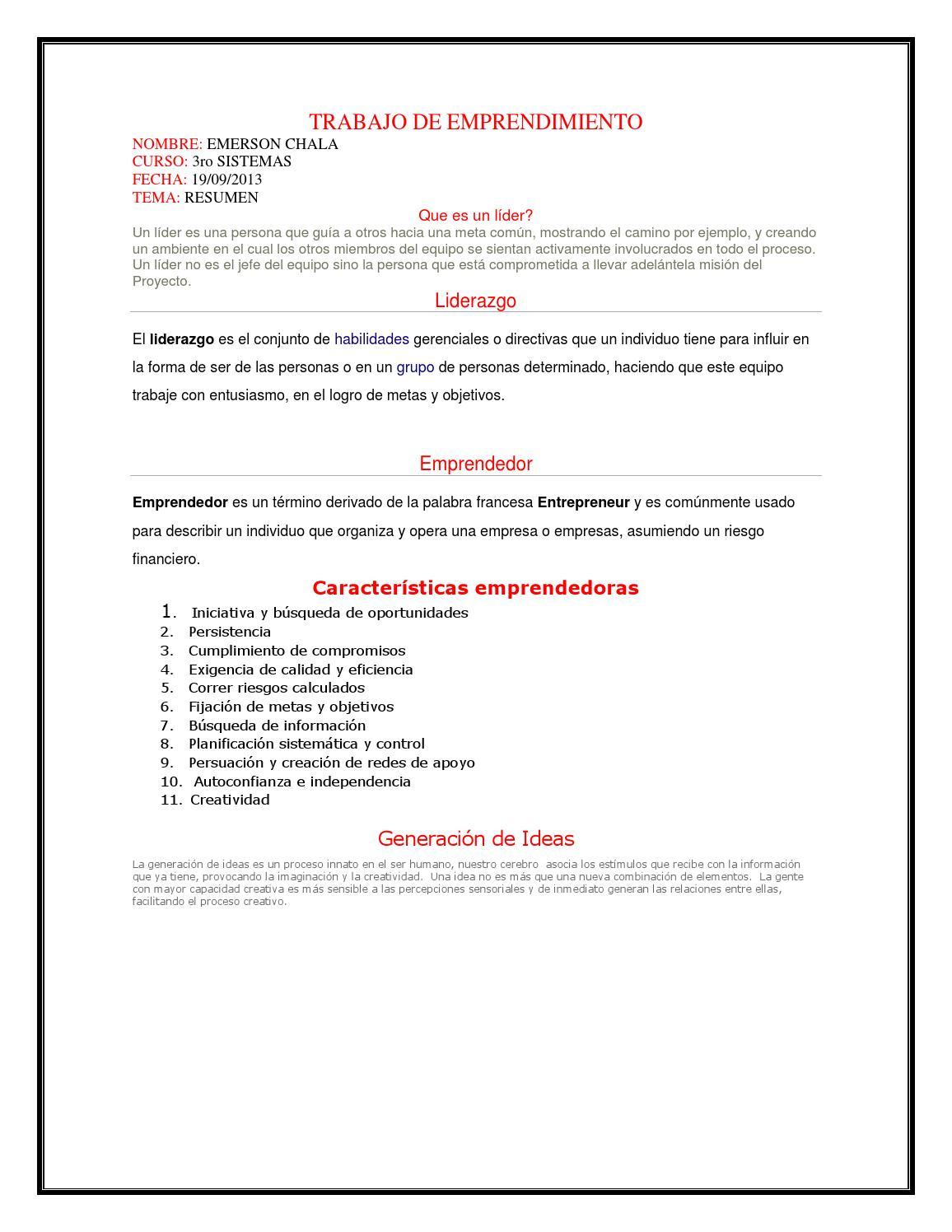 Trabajo de emprendimiento by Emerson Chala - issuu