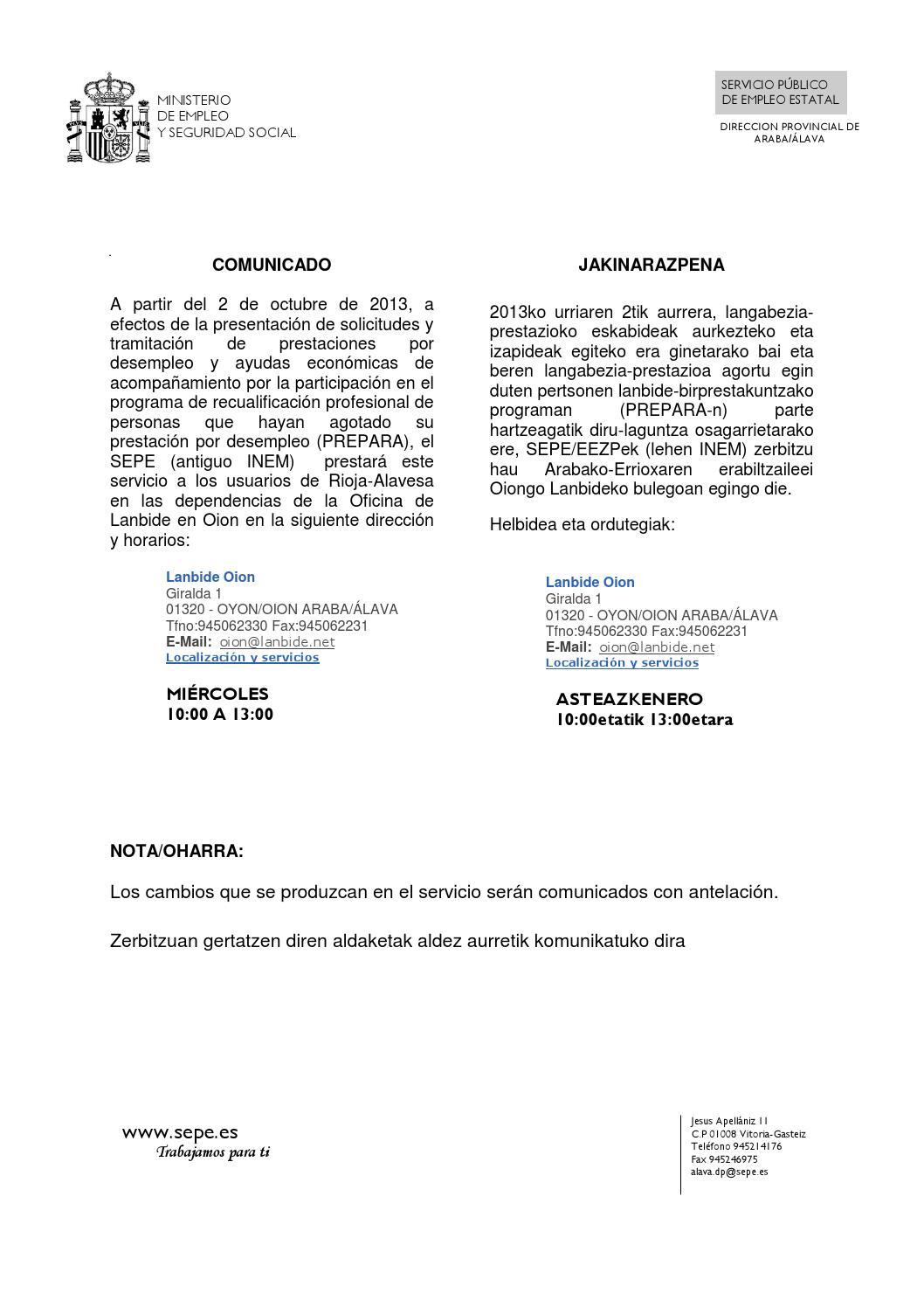 Comunicado sepe by cuadrilla rioja alavesa laguardia issuu for Inem horario oficinas