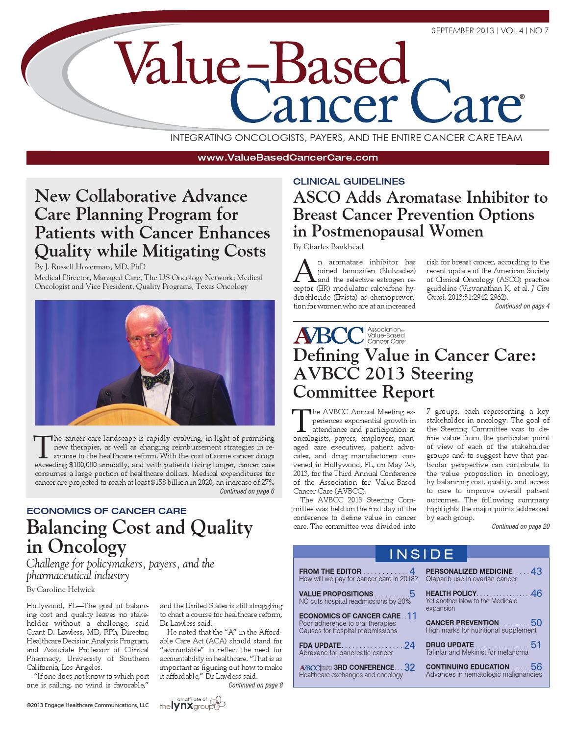 VBCC September 2013 by Value Based Cancer Care issuu