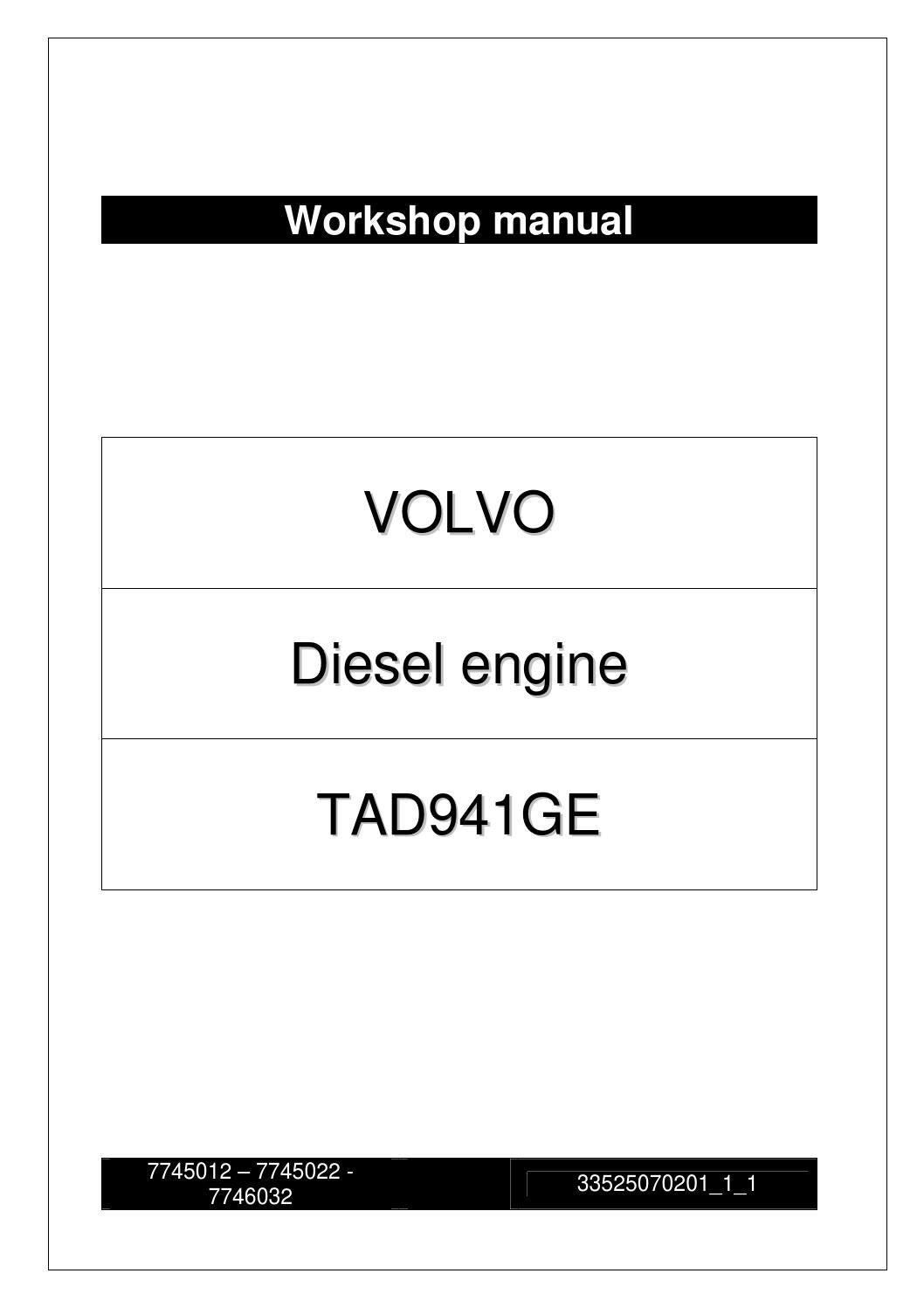 Workshop Manual Volvo Tad941ge Engine By Power Generation Issuu 83 Wiring Harness