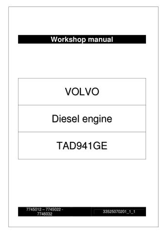 WORKSHOP MANUAL VOLVO TAD941GE Engine by Power Generation ...