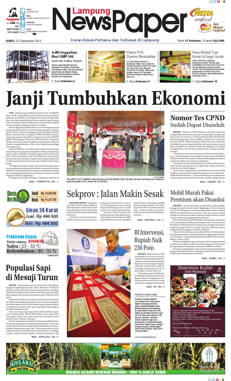 Lampung Newspaper Rabu 25 September 2013 By Lampung News Paper Issuu
