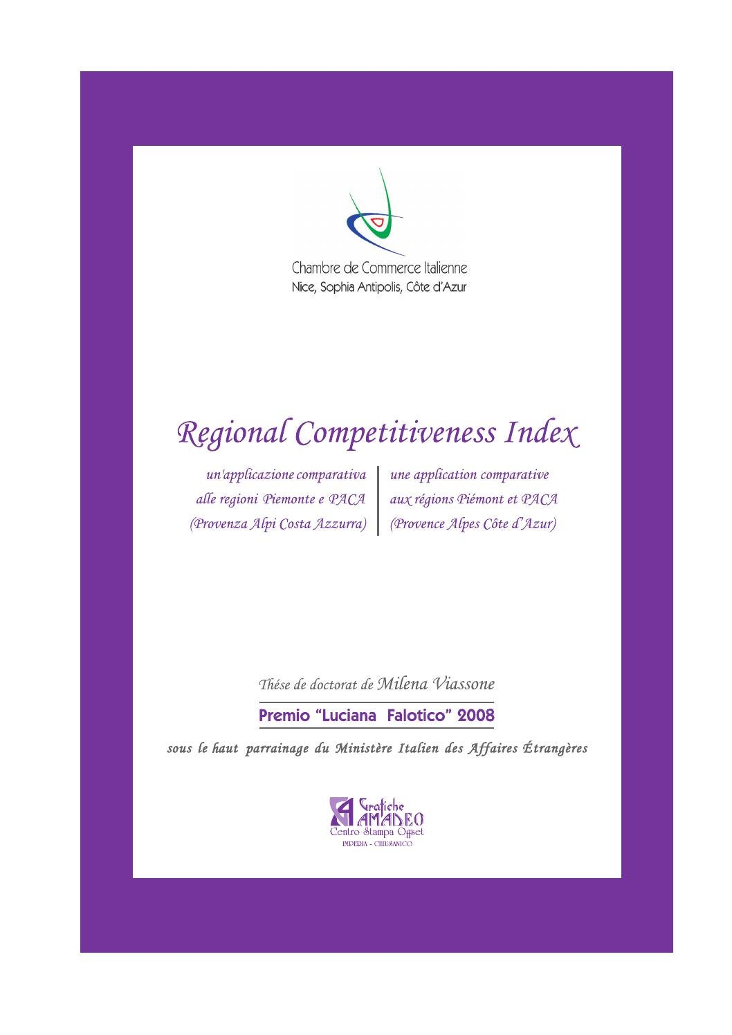 Regional competitiveness index un 39 applicazione for Chambre de commerce italienne nice