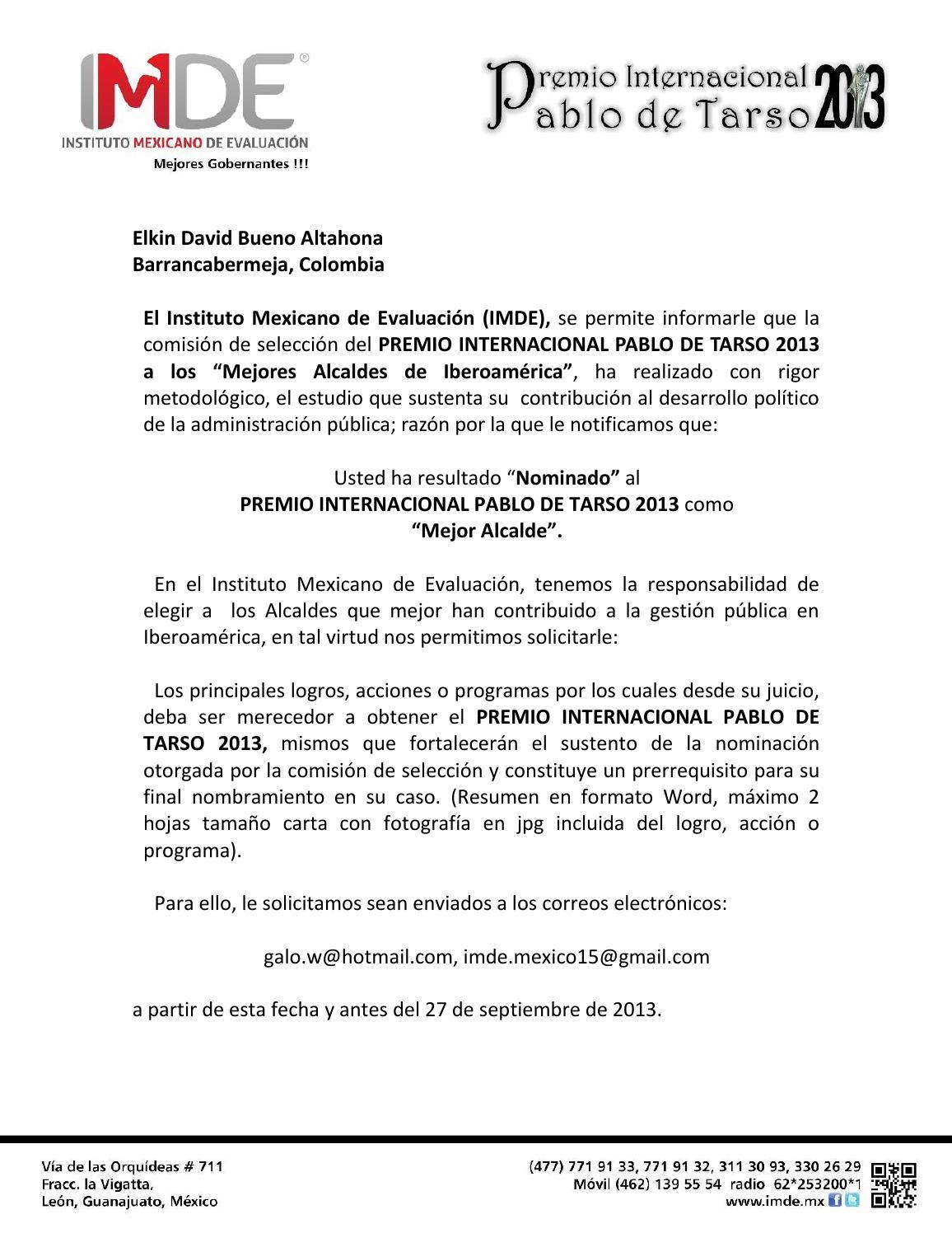 Documento nominacion premio internacional pablo de tarso 2013 by ...