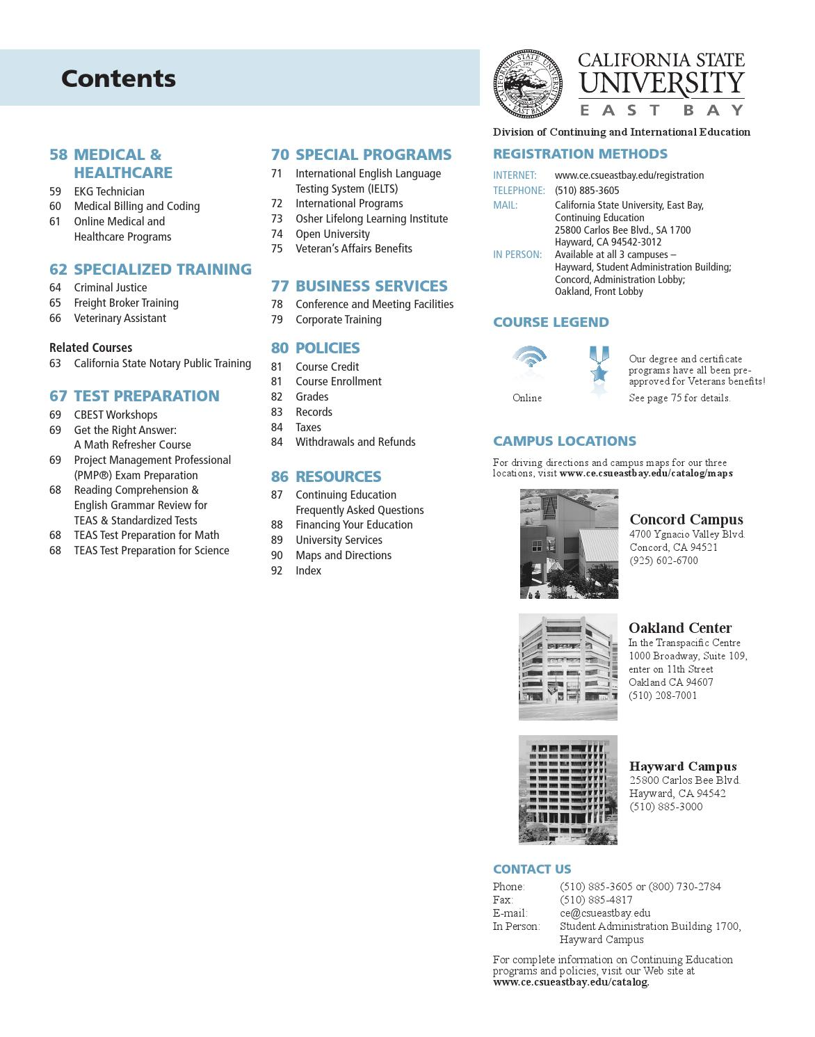Csueb Concord Campus Map.Cal State East Bay Continuing Education Annual Catalog 2013 14 By