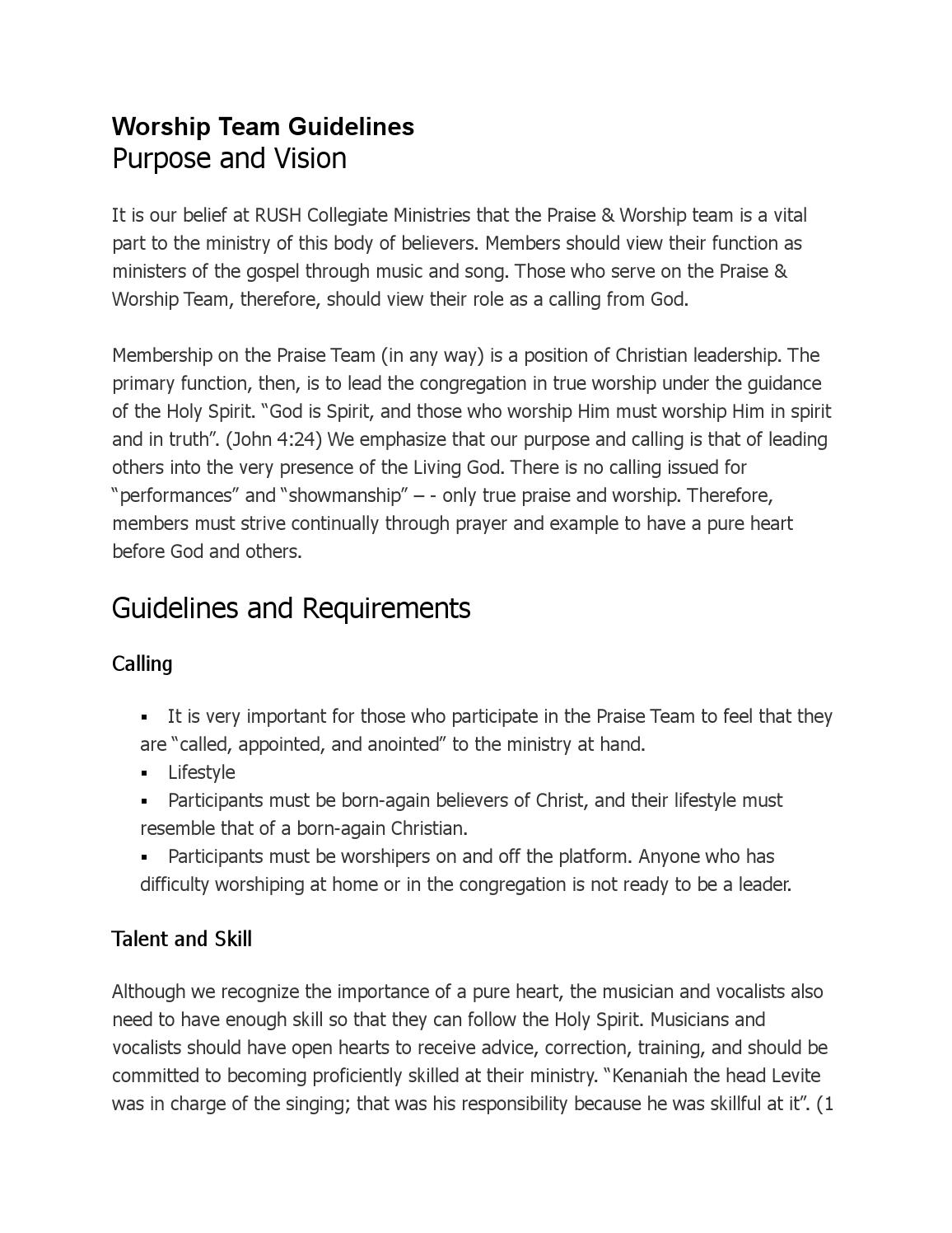worship team guidelines by rush collegiateministries issuu rh issuu com worship team guidelines pdf worship team guidelines and rules
