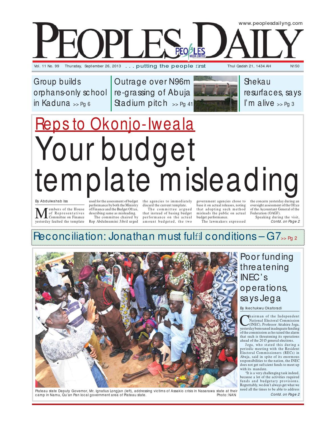 Peoples Daily Newspaper, Thursday 26, September, 2013 by