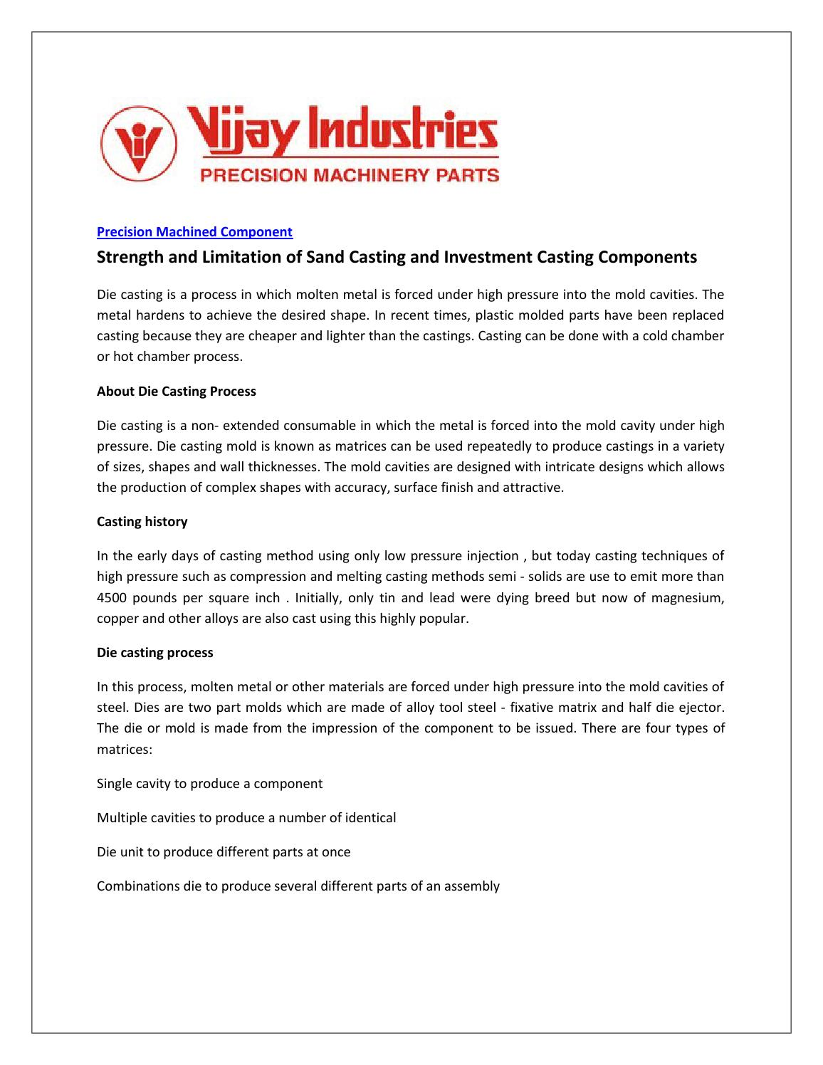 Strength and Limitation of Sand Casting and Investment