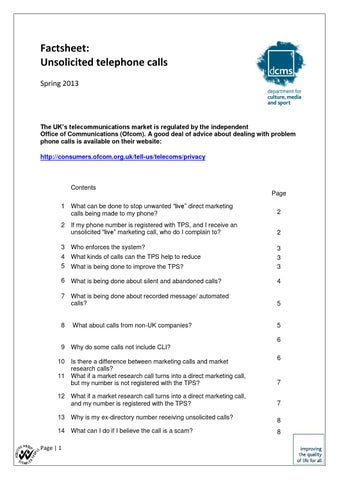 Government factsheet on nuisance phone calls by Bridget