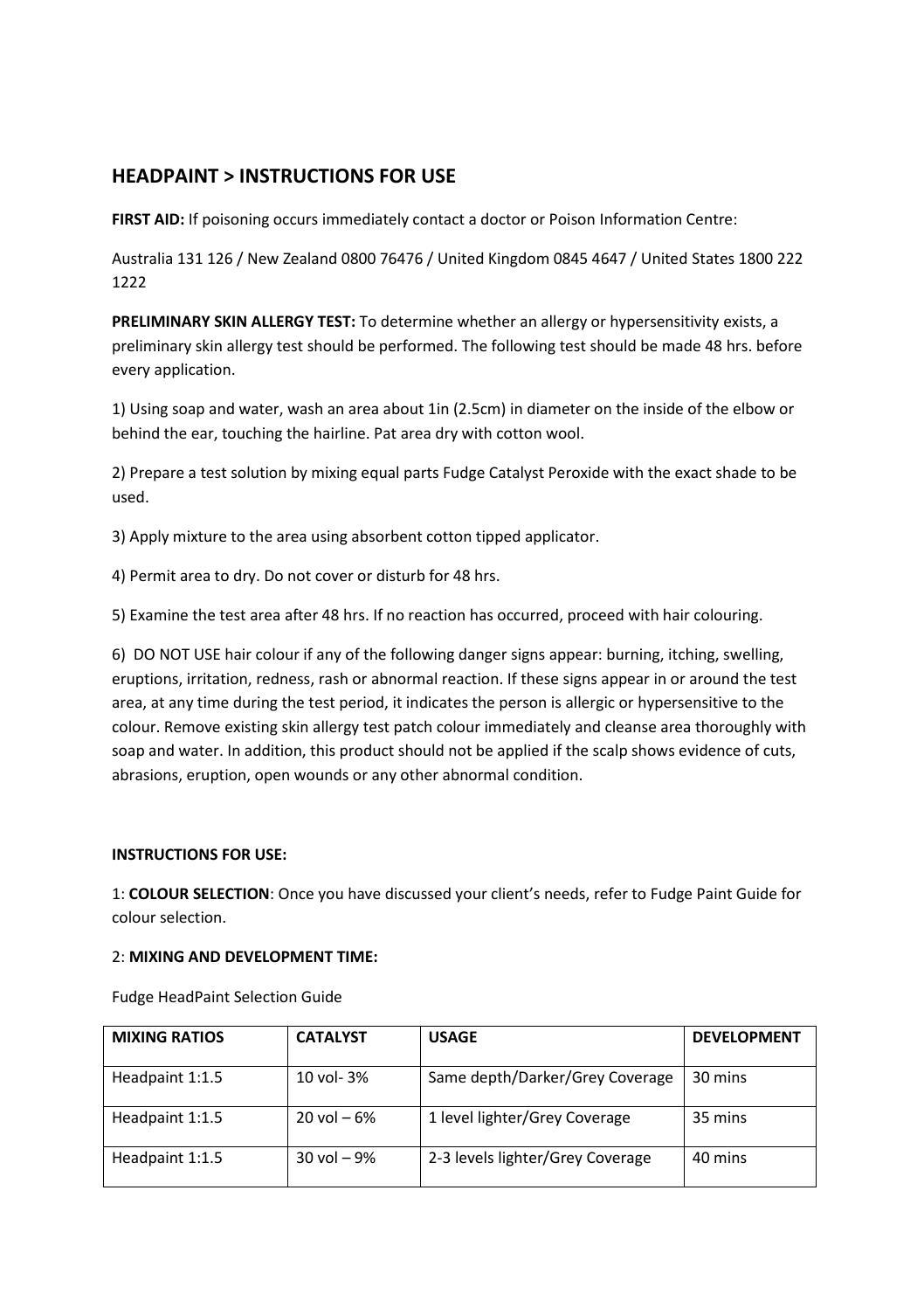 Fudge Headpaint Instruction Leaflet By Fudge Hair Issuu