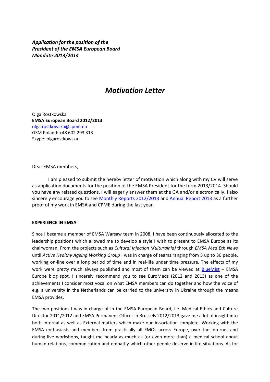 motivation letter emsa presidency 2013 2014 olga
