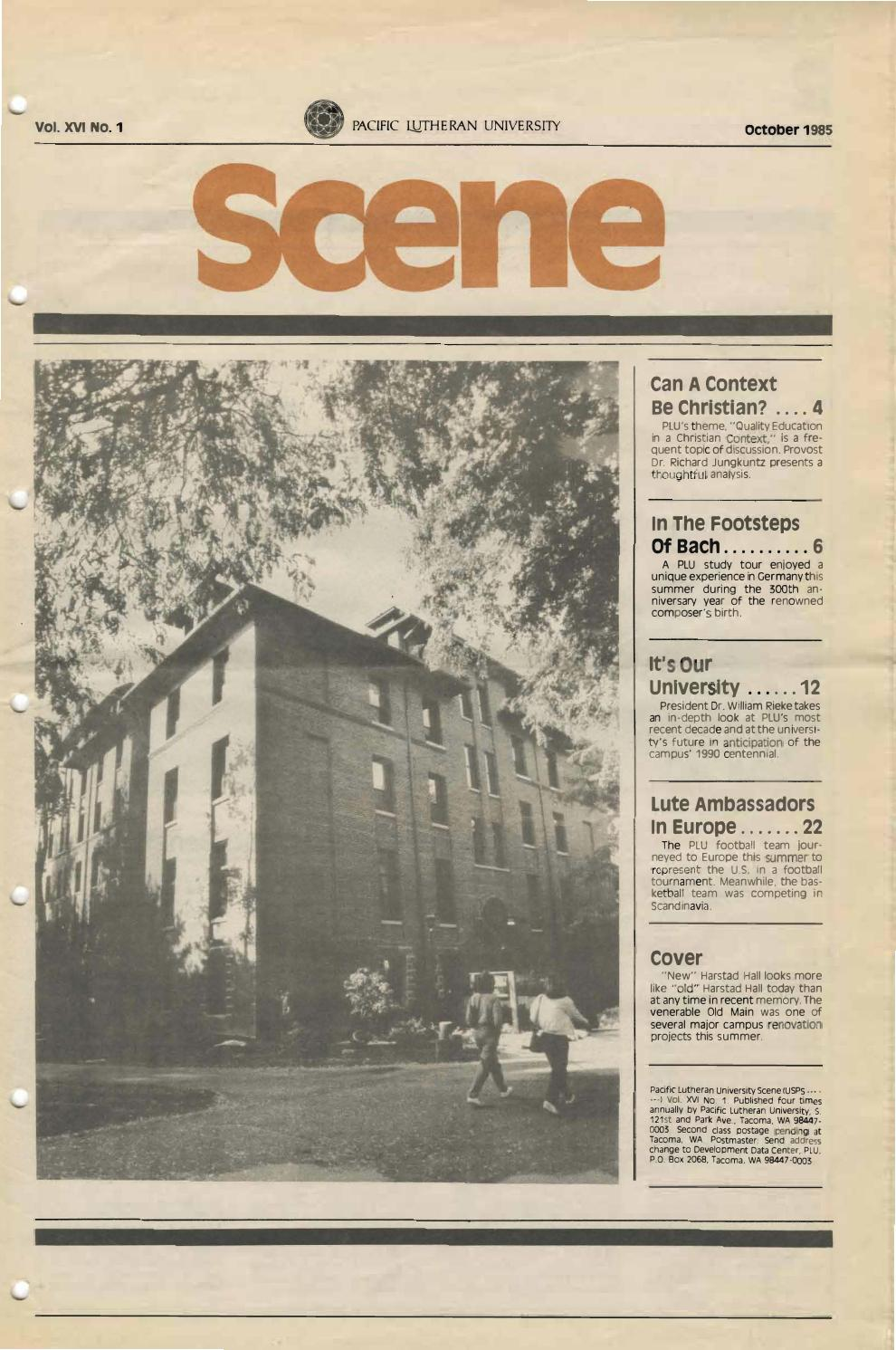 1985 1986 v 16 no 1 4 by Pacific Lutheran University Archives - issuu