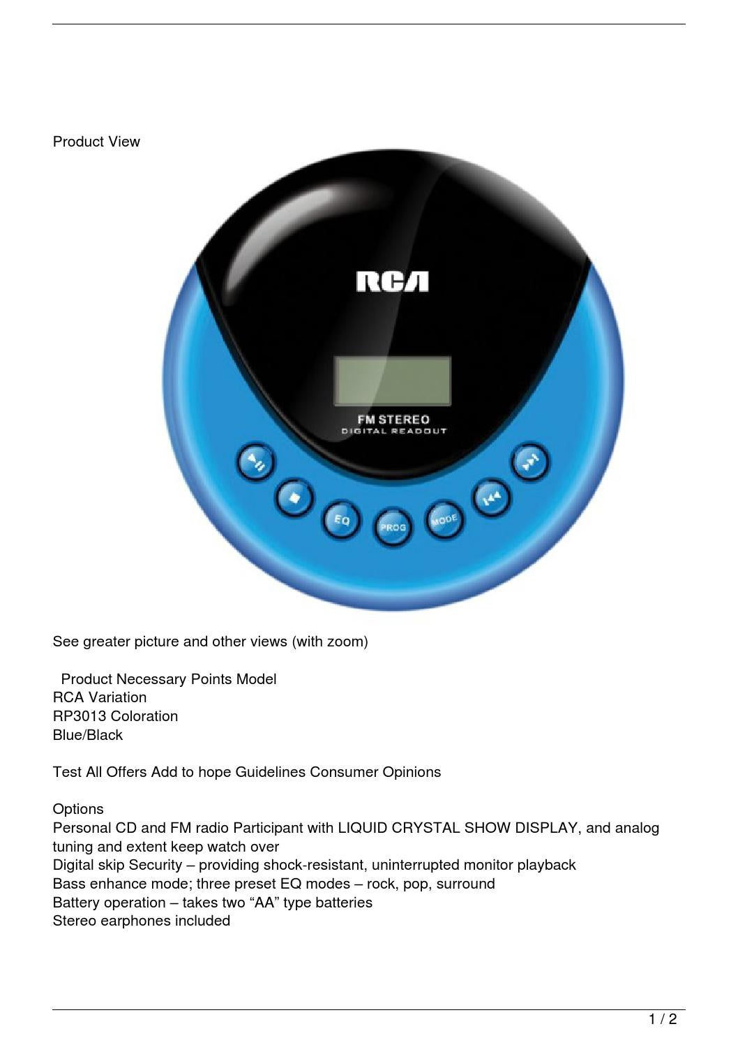 Most Design Ideas Rca Portable Cd Player Manual Pictures